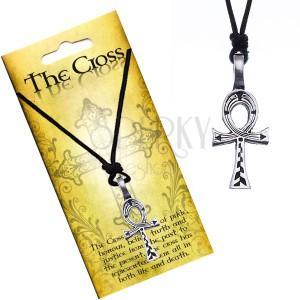 Čierny náhrdelník - egyptský kríž s vyrytými líniami
