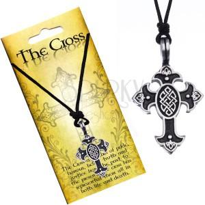 Náhrdelník na šnúrke, prívesok - kríž s keltským uzlom