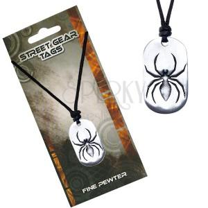 Náhrdelník so šnúrkou, kovový prívesok pavúka