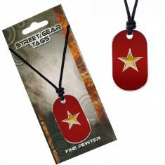Šperky eshop - Šnúrkový náhrdelník s farebnou známkou a hviezdou S4.10
