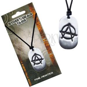 Čierny náhrdelník, lesklá kovová známka, symbol anarchie