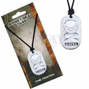 Čierny náhrdelník na šnúrke – biela lebka, nápis Poison