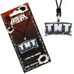 """Šnúrkový náhrdelník, kovový prívesok - tabuľa s nápisom """"TNT"""""""
