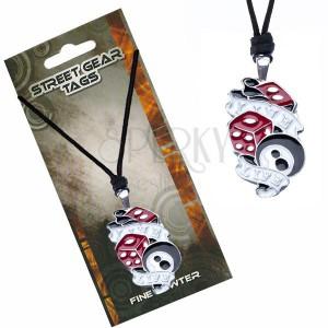 Trojfarebný náhrdelník na šnúrke - kocky, guľa, nápis Live Life