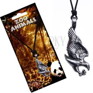 Šnúrkový náhrdelník čierny, kovový prívesok, orol