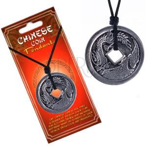 Šnúrkový náhrdelník, minca s čínskym drakom a pelikánom