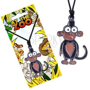 Náhrdelník na šnúrke, trojfarebný prívesok opice