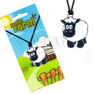 Šnúrkový náhrdelník s príveskom, čierno-biela ovečka