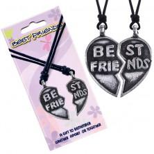 """Náhrdelníky BEST FRIENDS – rozpolené srdce, text """"Best Friends"""""""