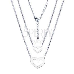 Dvojitý lesklý náhrdelník, ródiovaný, srdcia dvoch veľkostí