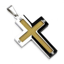 Oceľový kríž so zlatou sieťkou a nitmi