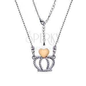 Lesklý guľôčkový náhrdelník s korunkou a srdcom