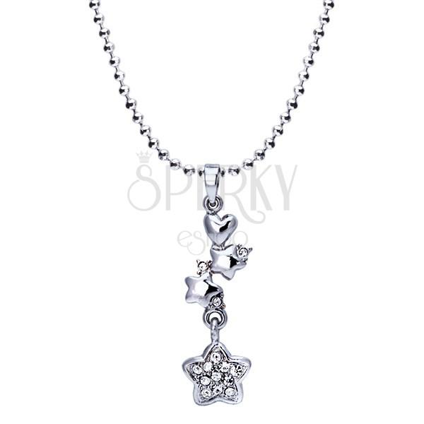 Ródiovaný náhrdelník - lesklé guličky, srdce, hviezdy so zirkónmi