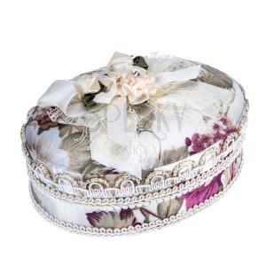 Béžová šperkovnica s kyticou kvetov a mašľou, kvetový motív