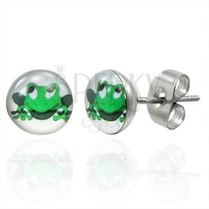 Náušnice z ocele zelená usmievavá žaba