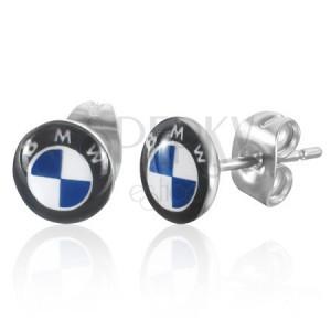 Okrúhle puzetové náušnice z ocele - svetlomodré logo BMW