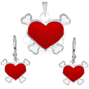 Strieborný 925 set náušníc a prívesku - červené pirátske srdce