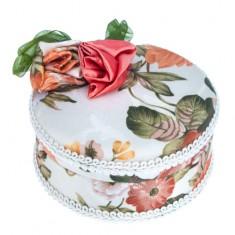 Okrúhla šperkovnica - látkový poťah s mašľou a ružami