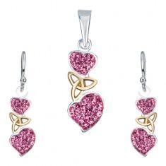 288717dd9 Šperky eshop - Strieborná sada 925 - náušnice a prívesok, ružové srdcia,  keltský uzol AA35.26