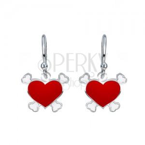 Strieborné visiace náušnice 925 - červené srdce, pirátsky motív