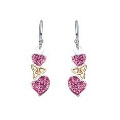 Šperky eshop - Náušnice zo striebra 925 - ružové srdiečka a keltský uzol zlatej farby AA38.25
