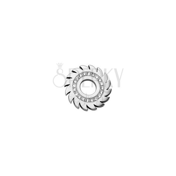 Prívesok z ocele - ozubené koliesko so zirkónmi