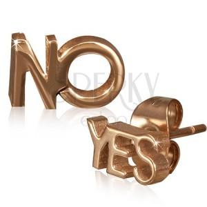 Puzetové náušnice z ocele - YES a NO v zlatoružovej farbe