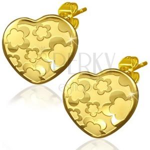 Srdcové náušnice zlatej farby z ocele - motív kvetov