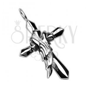 Anjelské krídlo na kríži - oceľový prívesok