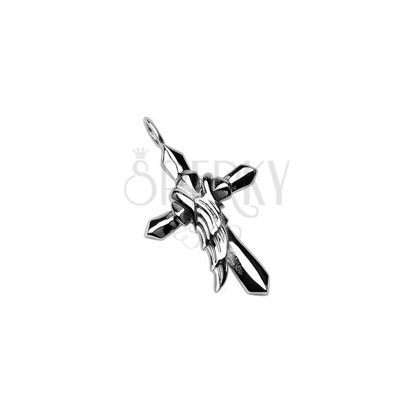 Oceľový prívesok v striebornej farbe - kríž s anjelským krídlom