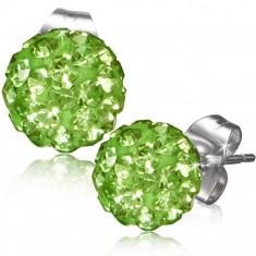 Šperky eshop - Zelené puzetové náušnice, gulička s kamienkami AA35.25