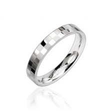 Oceľový prsteň tenký s matnou a lesklou šachovnicou