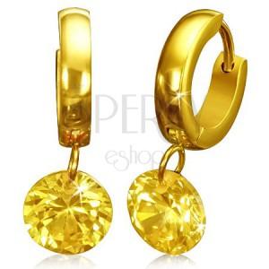 Zlaté kruhové náušnice z ocele so žltým brúseným zirkónom