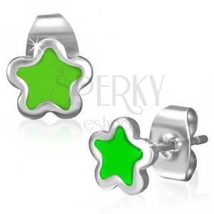 Oceľové puzetky - drobná hviezdička so zelenou glazúrou