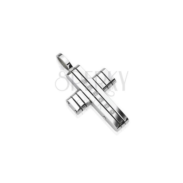 Prívesok z chirurgickej ocele - kríž v pásoch so zirkónmi