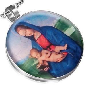 Oceľový prívesok s motívom Madony s dieťaťom, glazúra