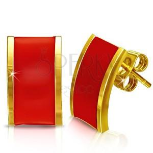 Oceľové náušnice - obdĺžniky zlatej farby s červeným povrchom