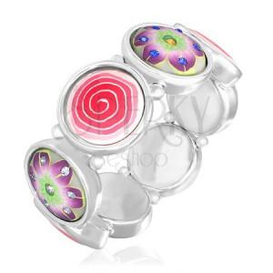 FIMO náramok - farebný motív špirály a kvetov so zirkónmi