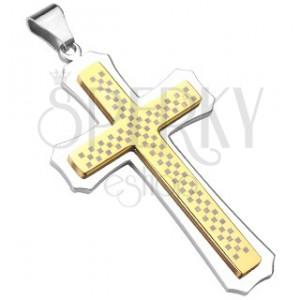 Mohutný kríž zlato-striebornej farby so šachovnicou