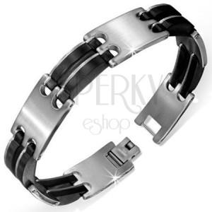 Lesklý náramok z gumy a chirurgickej ocele - hodinkový štýl