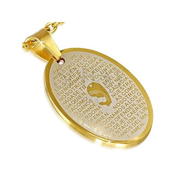 Lesklý zlatý prívesok z ocele - Panna Mária a modlitba  88df3d36631