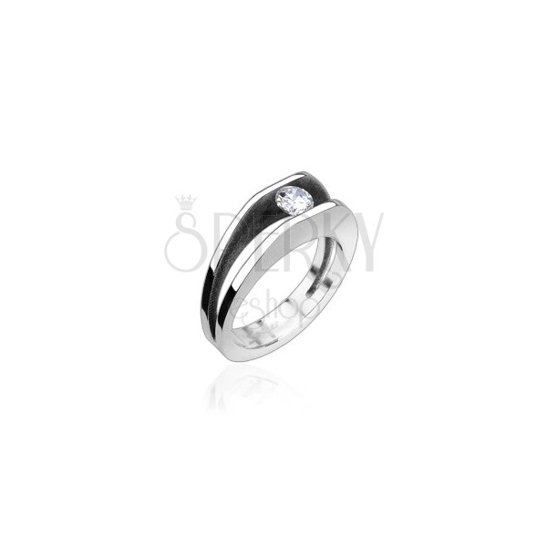 Oceľový prsteň s 5 mm zirkónom