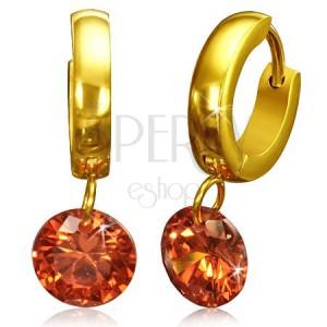 Oceľové náušnice zlatej farby, lesklý kruh s veľkým oranžovým zirkónom