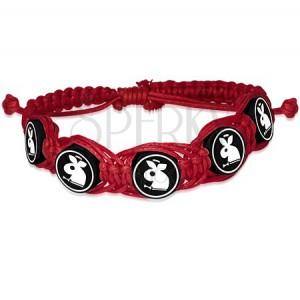 Červený pletený náramok, Fimo kruhové koráliky so zajačikom