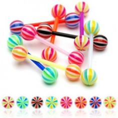 Šperky eshop - Piercing do jazyka z UV flexibilného materiálu cukríková gulička C10.14 - Farba piercing: Čierna - Biela - Červená - KWR