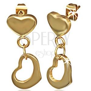 Zlaté visiace náušnice z ocele - plné srdiečko a kontúra srdca