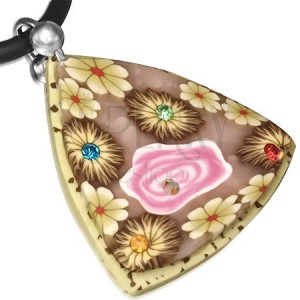 Béžovo-hnedý FIMO náhrdelník, trojuholník s kvetmi a kamienkami