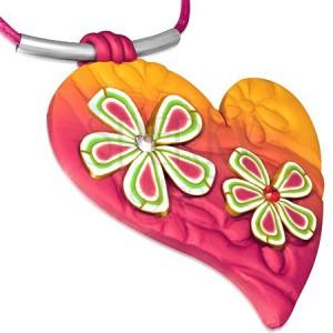 Náhrdelník FIMO, ružovo-oranžové srdce s kvetmi a zirkónmi