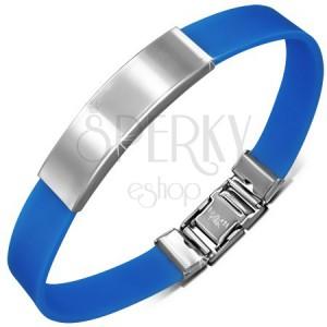 Modrý gumený náramok s hladkou zaoblenou známkou z ocele