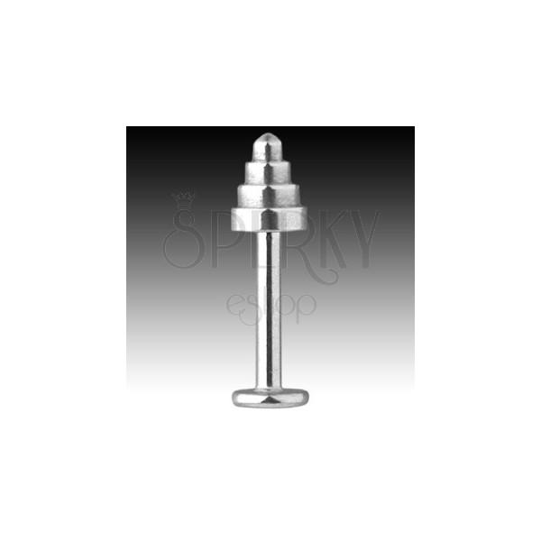 Labret z ocele 316L - kužeľ so zaobleným hrotom, hrúbka 1,6 mm